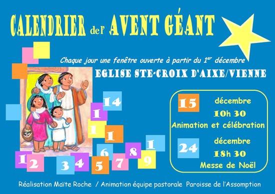 Animation autour du calendrier de Maïte Roche le 15 décembre à Aixe-sur-Vienne