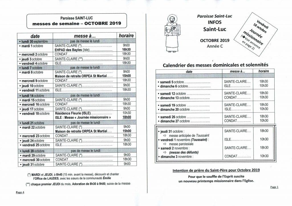 Saint Lucas Calendrier.Saint Luc Horaires Messes Dominicales Et De Semaine